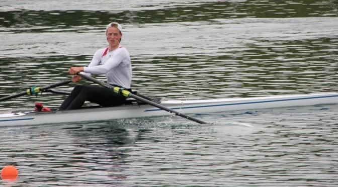 2. Kleinbootüberprüfung, Essen. Elias Dreismickenbecker rudert auf zweiten Platz